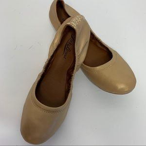 Lucky Brand Emmie Leather Ballet Flats Gold